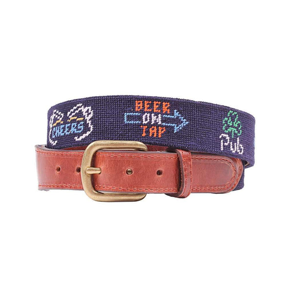 Smathers & Branson Last Call Needlepoint Belt in Midnight