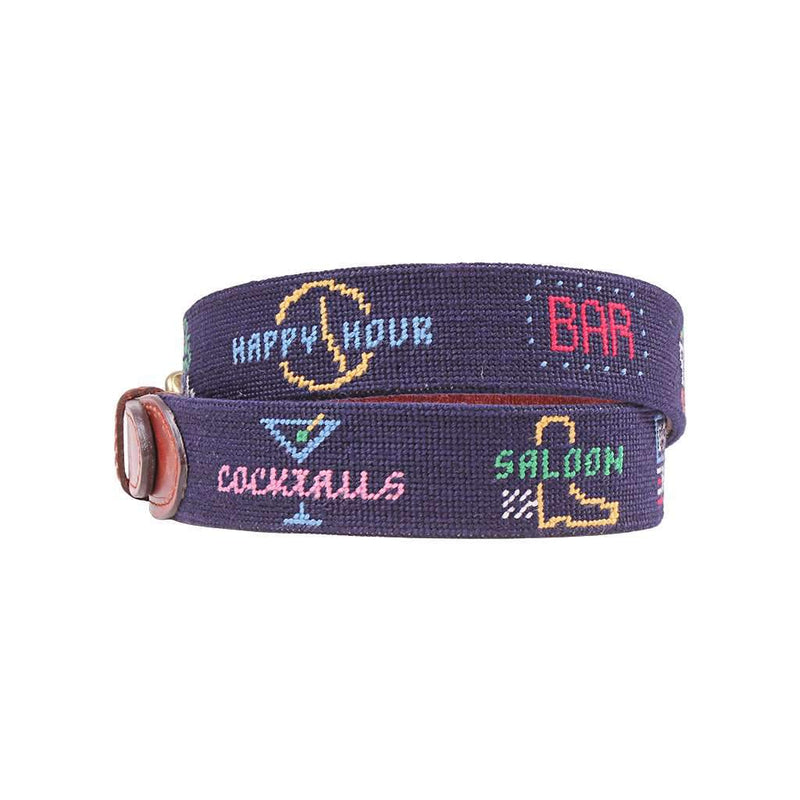 Last Call Needlepoint Belt in Midnight by Smathers & Branson