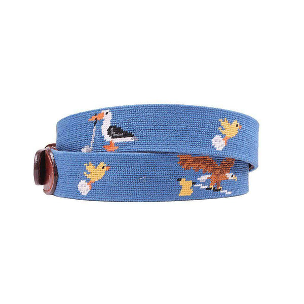 Birdie Eagle Albatross Needlepoint Belt in Blueberry by Smathers & Branson