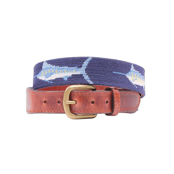 Smathers & Branson Billfish Needlepoint Belt in Dark Navy