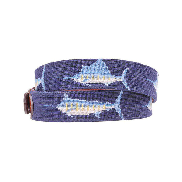 Billfish Needlepoint Belt in Dark Navy by Smathers & Branson