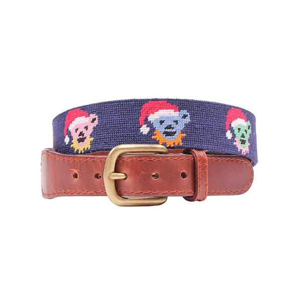 Smathers & Branson Grateful Dead Santa Bears Needlepoint Belt in Dark Navy