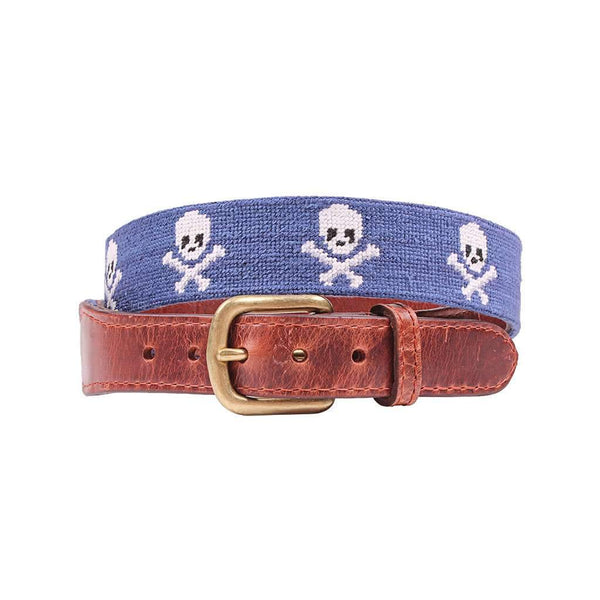 Smathers & Branson Jolly Roger Needlepoint Belt in Classic Navy