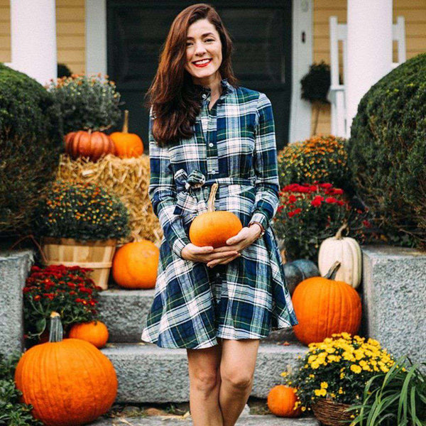 Country Club Prep Navy and Green Tartan / XS