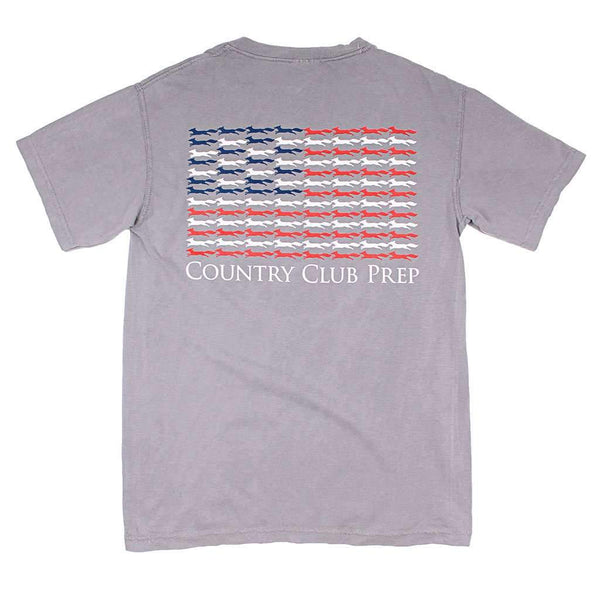 Country Club Prep Longshanks Stars and Stripes Tee Shirt in Grey