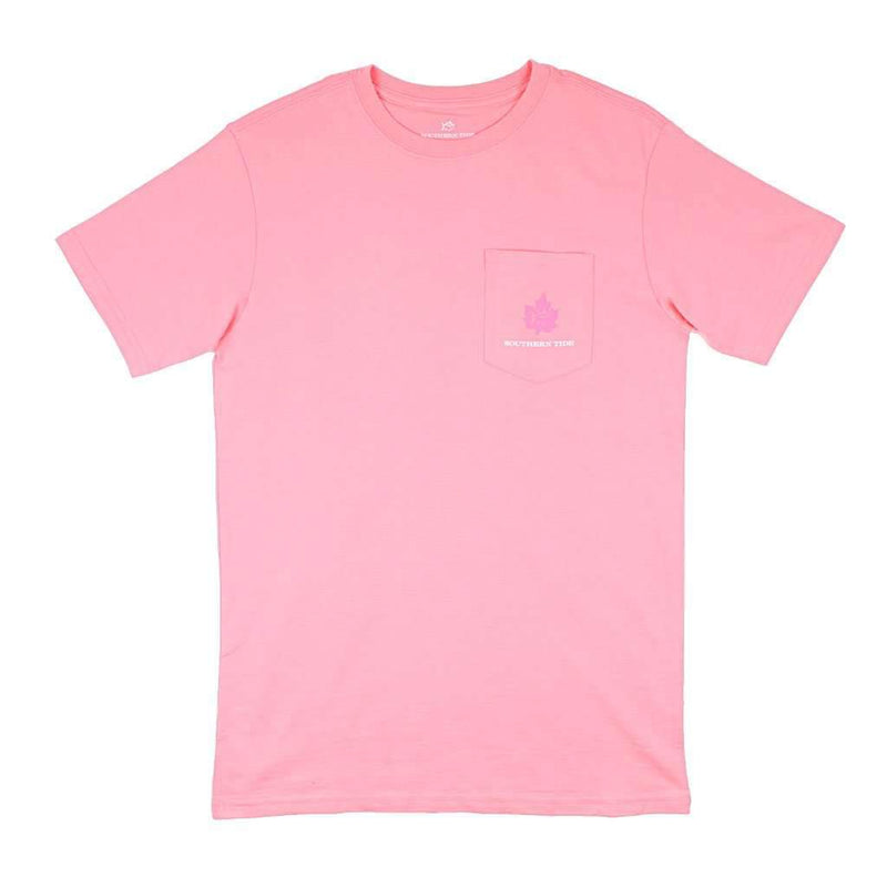 Women's Short Sleeve Fall Leaves Skipjack Tee in Light Coral by Southern Tide - FINAL SALE