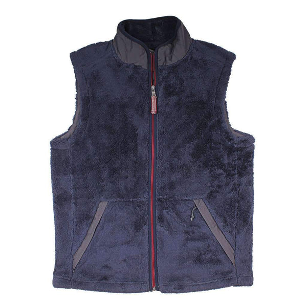 True Grit Luxe Double Plush Full Zip Vest in Vintage Navy