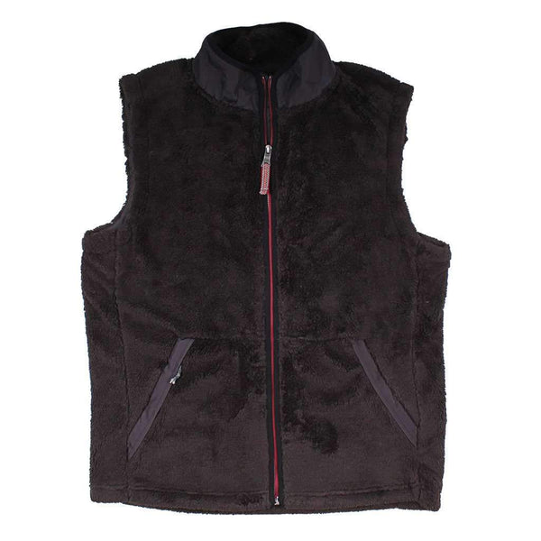 True Grit Luxe Double Plush Full Zip Vest in Vintage Black