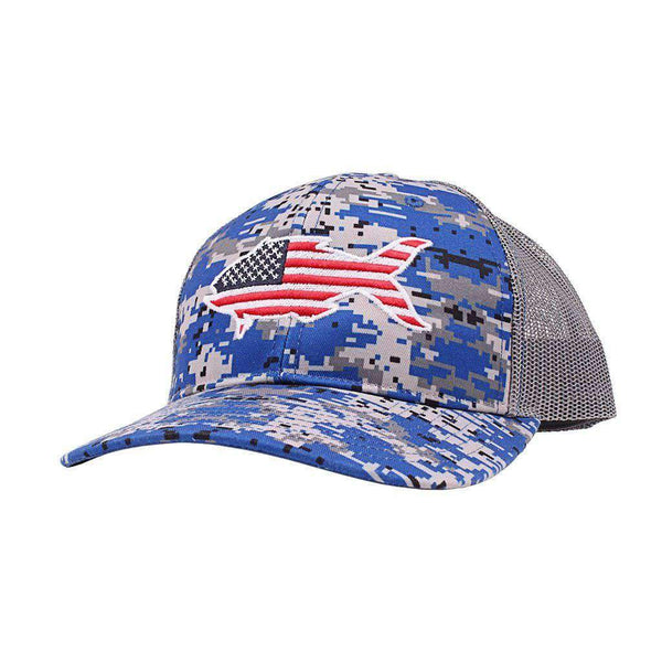 American Flag Snapper Hat in Digital Blue Camo by Southern Snap Co.