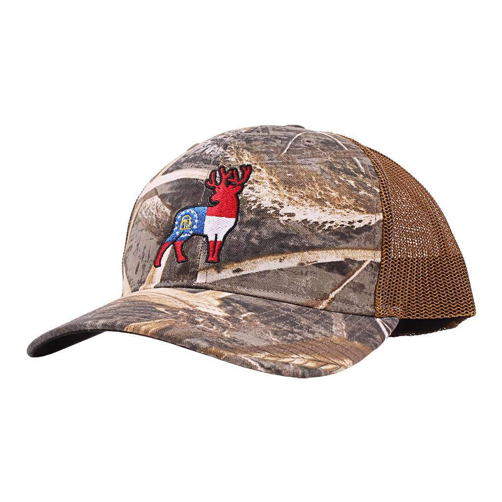 516e4d6a91b1b Southern Snap Co. Georgia Flag Deer Trucker Hat in Camo – Country ...