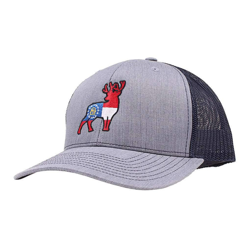 Georgia Flag Deer Trucker Hat in Grey with Navy by Southern Snap Co.