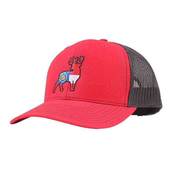 Southern Snap Co. Georgia Flag Deer Trucker Hat in Red by Southern Snap Co.