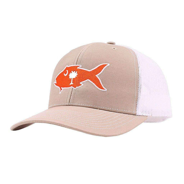 Southern Snap Co. Clemson Gameday Snapper Trucker Hat in Khaki & White by Southern Snap Co.