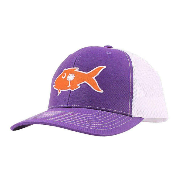 Clemson Gameday Snapper Trucker Hat in Purple & White by Southern Snap Co.