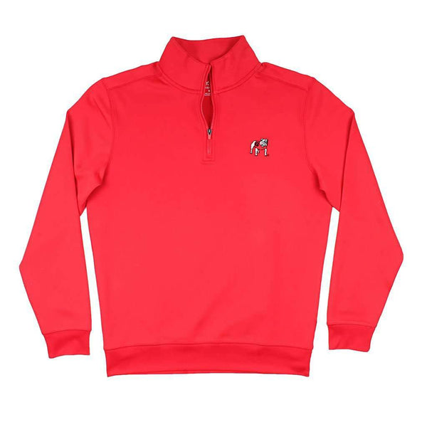 Southern Tide Georgia Bulldog Gameday Performance Skipjack 1/4 Zip Pullover in Varsity Red