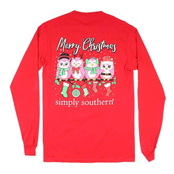 96d2799bb5b5 Simply Southern Long Sleeve Owl Christmas Tee in Red – Country Club Prep