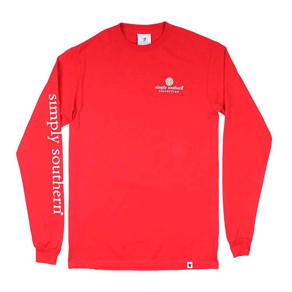 Simply Southern Long Sleeve Owl Christmas Tee in Red