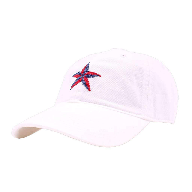 Nautical Star Needlepoint Hat in White by Smathers & Branson