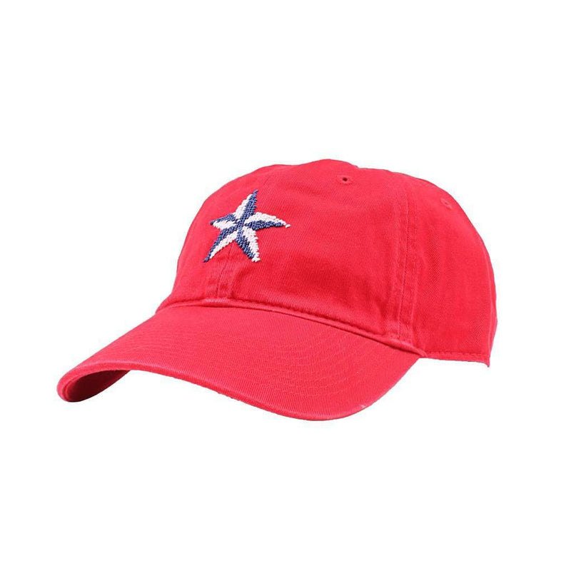 Smathers & Branson Nautical Star Needlepoint Hat in Red