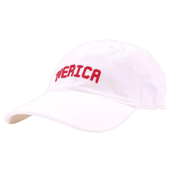 Smathers & Branson 'Merica Needlepoint Hat in White