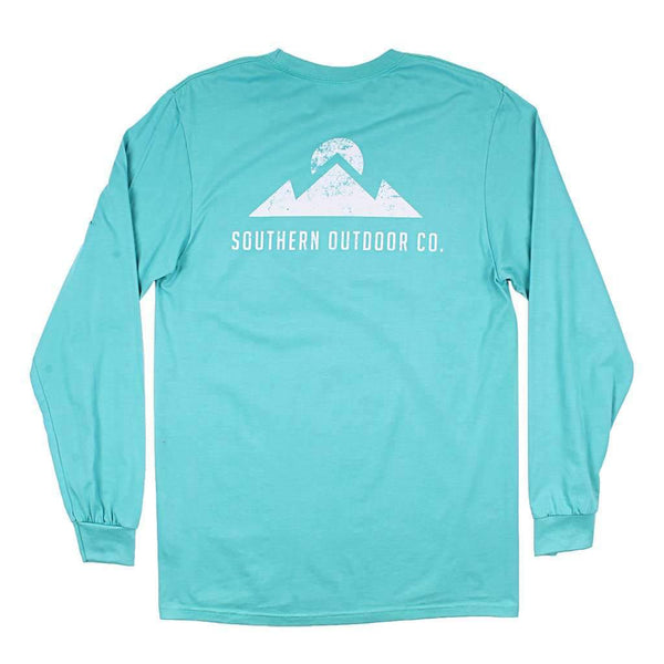 Southern Outdoor Co. Peak Logo Long Sleeve Tee in Outer Bank Teal