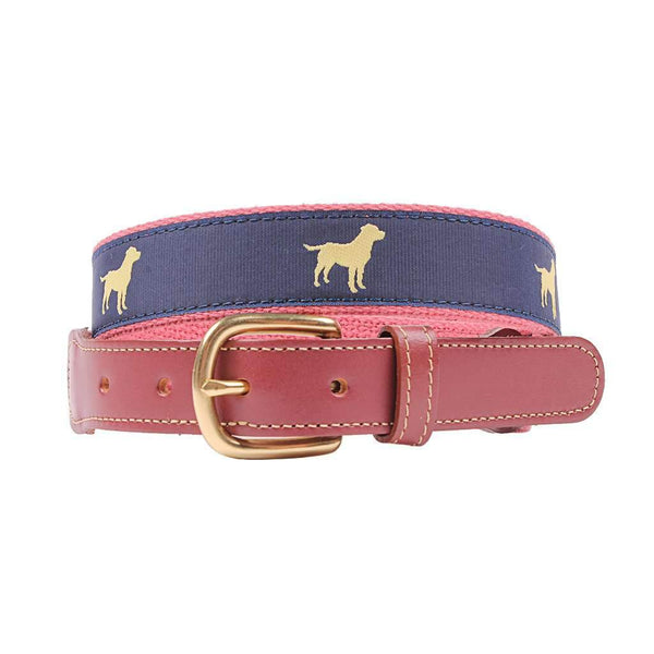 Country Club Prep Yellow Lab Leather Tab Belt in Navy