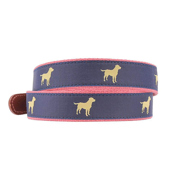 Yellow Lab Leather Tab Belt in Navy by Country Club Prep