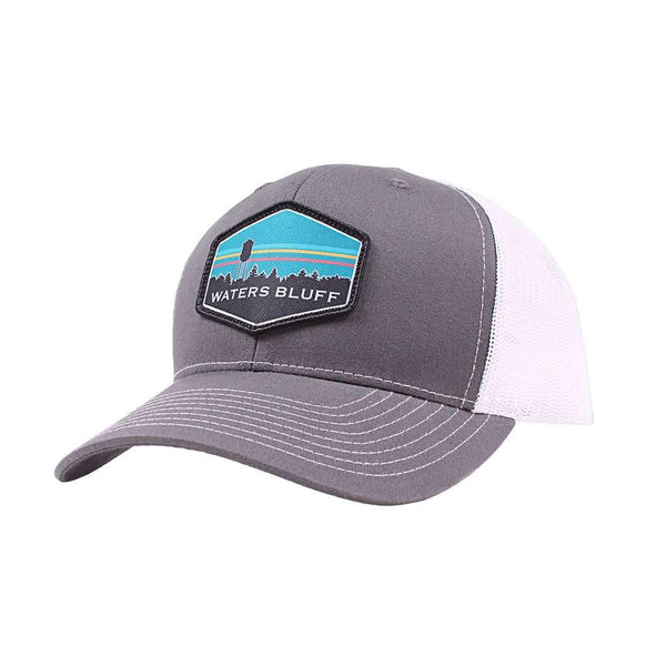 Waters Bluff Midnight Tower Trucker Hat in Charcoal & White
