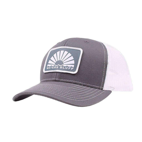 Boxy Logo Trucker Hat in Charcoal & White by Waters Bluff