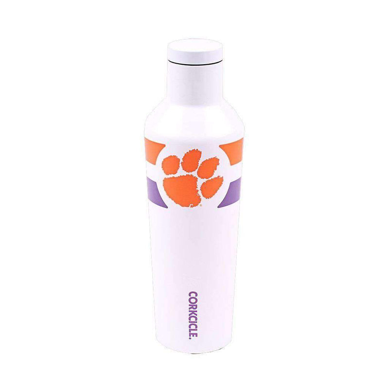 Corkcicle Clemson Logo 16 Oz. Canteen in Gloss White