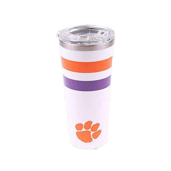 Clemson Logo 24oz Tumbler in Gloss White by Corkcicle