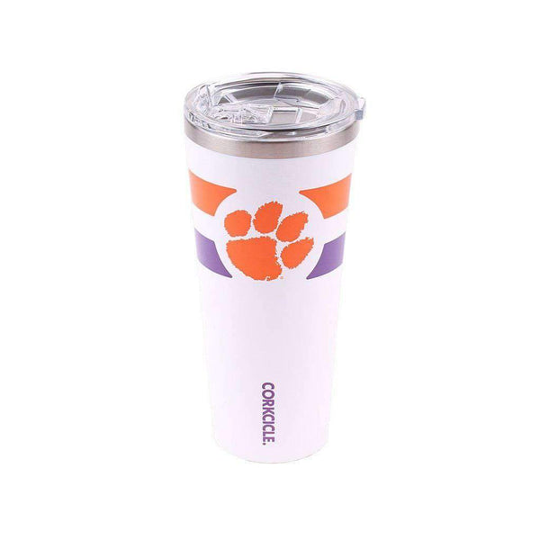 Corkcicle Clemson Logo 24oz Tumbler in Gloss White