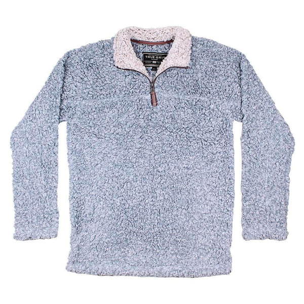 True Grit Softest Tip Shearling 1/4 Zip Pullover in Chambray