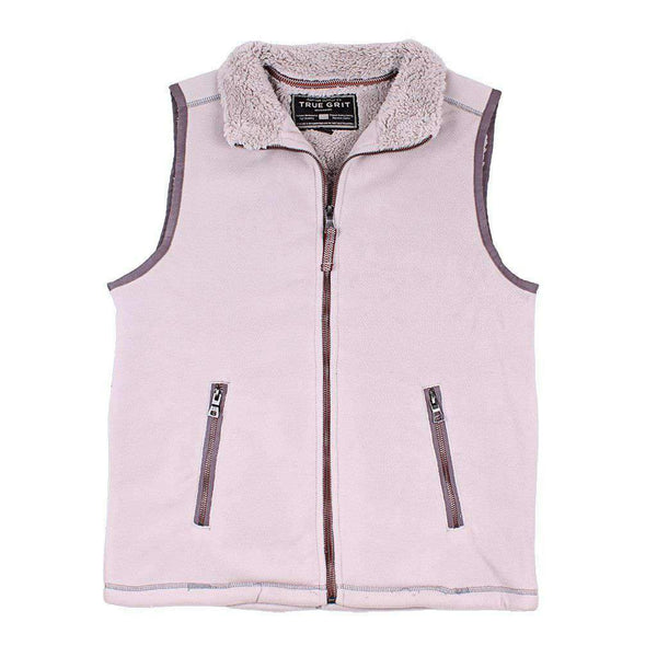 True Grit Bonded Polar Fleece & Sherpa Lined Vest in Faded Heather