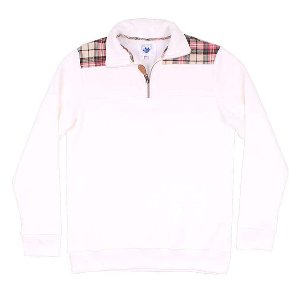Nordic Fleece Quarter Zip Pullover in White with Plaid
