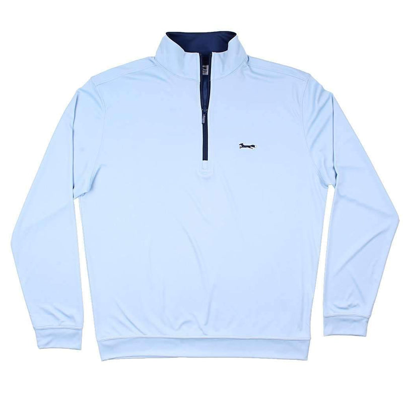 Country Club Prep Longshanks 1/4 Performance Pullover in Ice Blue & Navy