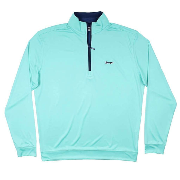 Country Club Prep Longshanks 1/4 Performance Pullover in Florida Green & Navy