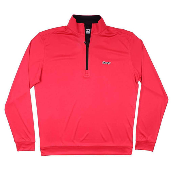 Country Club Prep Longshanks 1/4 Performance Pullover in Red & Black