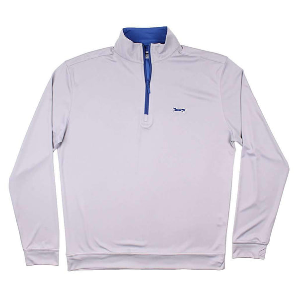 Country Club Prep Longshanks 1/4 Performance Pullover in Grey & Blue