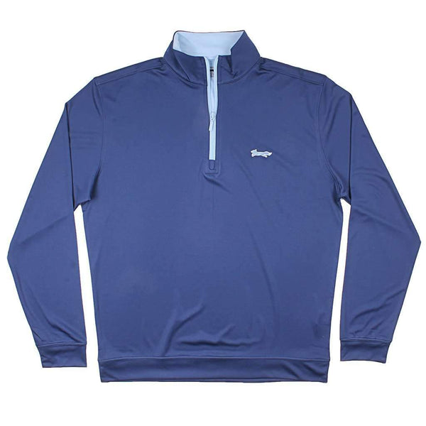 Country Club Prep Longshanks 1/4 Performance Pullover in Navy & Ice Blue
