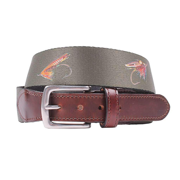 Country Club Prep Hampton Belt in Olive with Fishing Flies