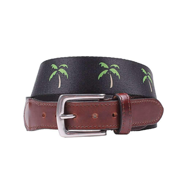 Country Club Prep Hampton Belt in Navy with Palm Trees