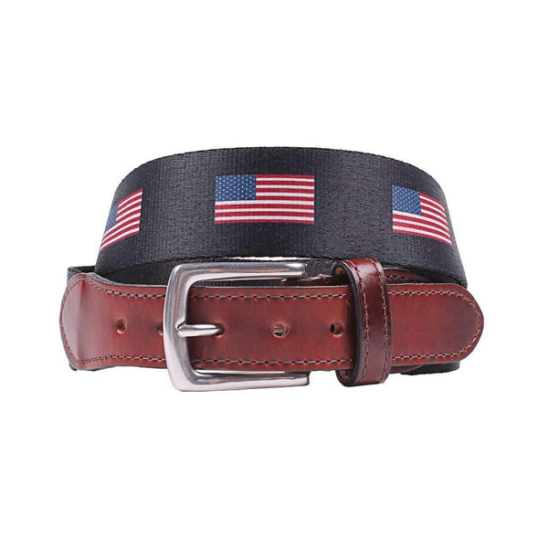 Country Club Prep Hampton Belt in Navy with USA Flags