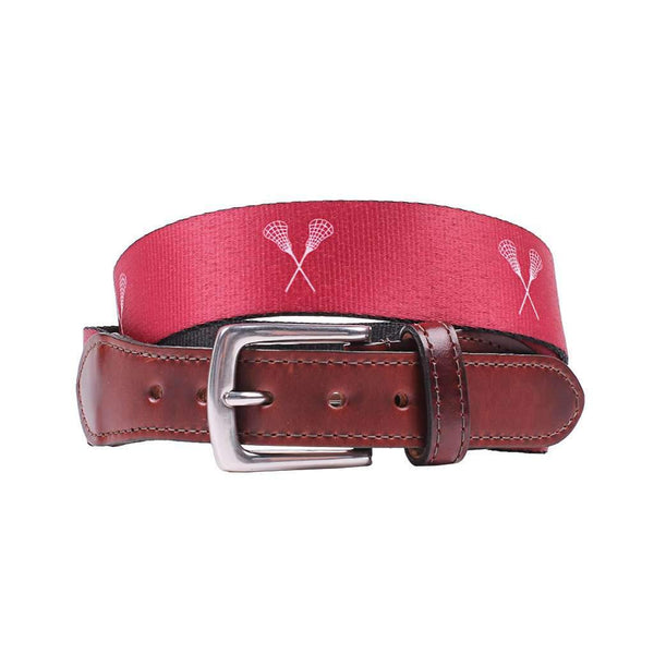 Country Club Prep Hampton Belt in Maroon with Lacrosse Sticks