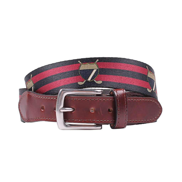 Country Club Prep Hampton Belt in Navy & Red Stripe with Golf Crest