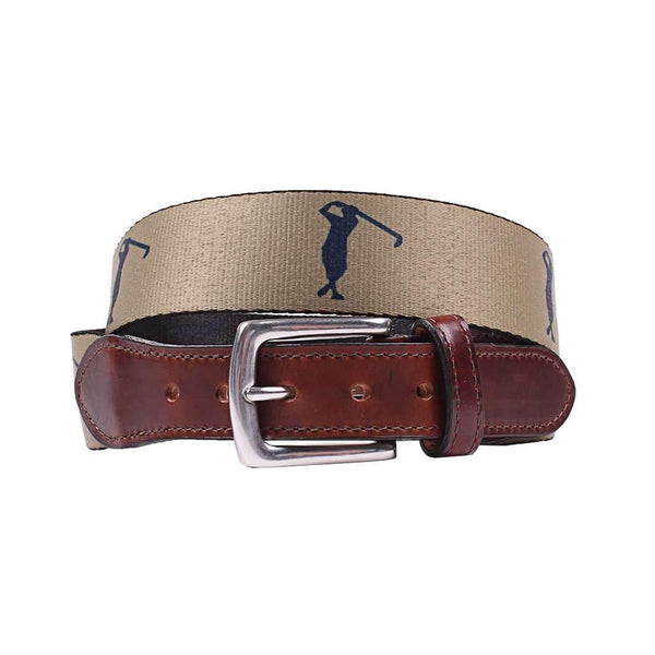 Country Club Prep Hampton Belt in Khaki with Golfer