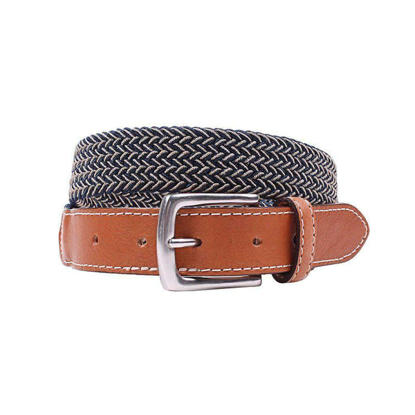 Country Club Prep Cooper Elastic Braid Belt in Khaki & Navy