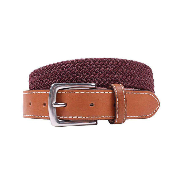 Country Club Prep Cooper Elastic Braid Belt in Claret