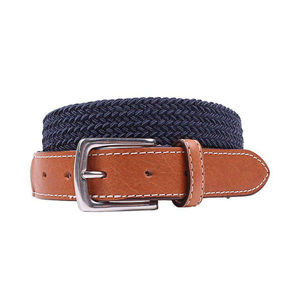 Country Club Prep Cooper Elastic Braid Belt in Navy