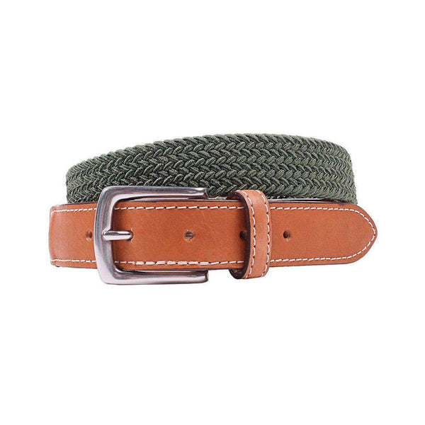 Country Club Prep Cooper Elastic Braid Belt in Olive